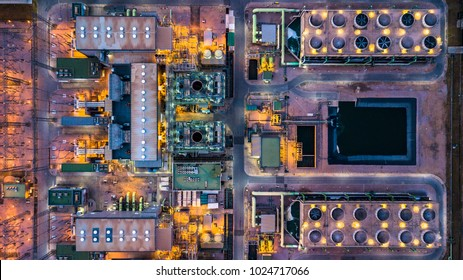 Aerial view thermal power plant and combined cycle power plant.
