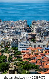 Aerial view of Thessaloniki, Greece. Thessaloniki is the second largest city in Greece and the capital of Greek Macedonia.