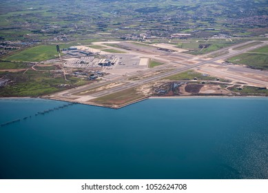 """Aerial view of Thessaloniki """"Makedonia"""" Airport. The airport is the primary airport of the city of Thessaloniki in northern Greece."""
