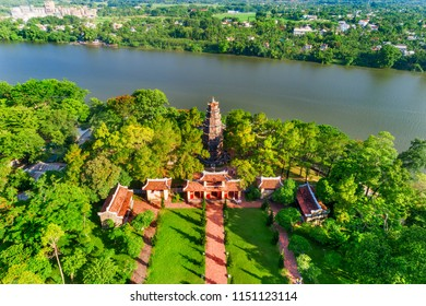Aerial view of Thien Mu Pagoda is one of the ancient pagoda in Hue city.It is located on the banks of the Perfume River in Vietnam's historic city of Hue.