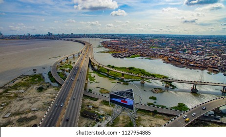 Aerial view of Third Mainland Bridge Lagos Nigeria