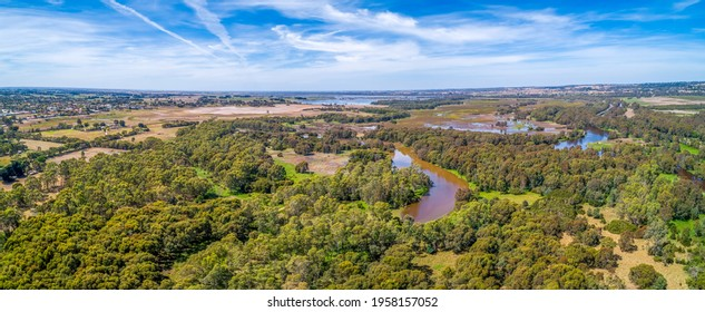 Aerial view of Thomson River and rural highway near Sale, Victoria, Australia - Shutterstock ID 1958157052
