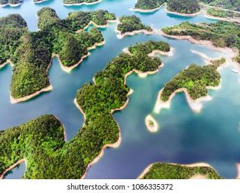 Aerial View of Thousand Island Lake. Bird View of Freshwater Qiandao Hu. Sunken Valley in ChunAn Country, Hangzhou, Zhejiang Province, China.