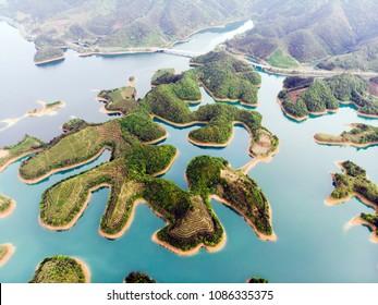 Aerial View of Thousand Island Lake. Bird View of Freshwater Qiandaohu. Tea Islands in Chunan Country, Hangzhou, Zhejiang Province, China Mainland.