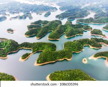 Aerial View of Thousand Island Lake. Bird view of Freshwater Qiandaohu. Sunken Valley in Chunan Country, Hangzhou, Zhejiang Province, China Mainland.