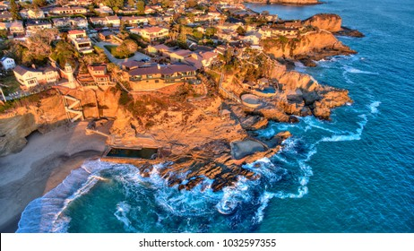 Aerial view of Three Arch Bay in Laguna Beach, Orange County, California during twilight.