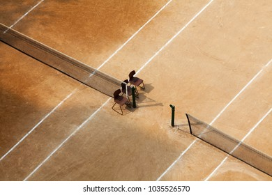 Aerial view of Three clay tennis courts