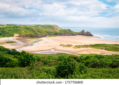 Aerial view to Three Cliffs Bay in Gower AONB in Wales.