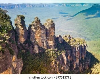 Aerial View Three Sister Mountains At Blue Mountain National Park . Katoomba , Australia
