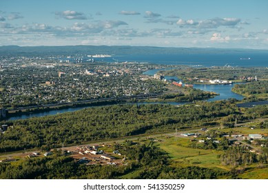Aerial view to Thunder Bay from Mount McKay, Ontario, Canada