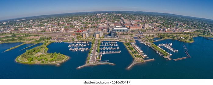 Aerial View of Thunder Bay, Ontario on Lake Superior in Summer