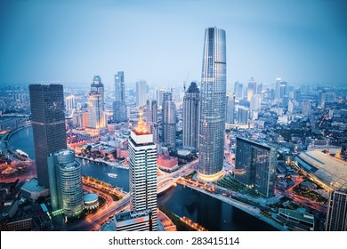 aerial view of tianjin financial district in nightfall, china