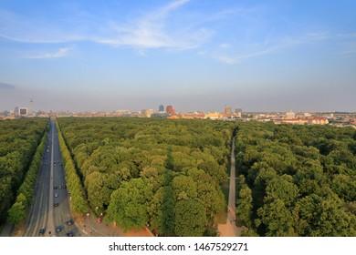 Aerial view of Tiergarten Park, Berlin, Germany (Deutschland);  The Tiergarten (Großer Tiergarten) is Berlin's most popular inner-city park. The park is 210 hectares (520 acres).