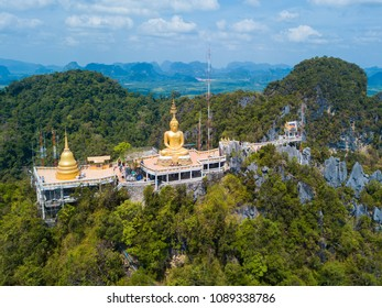 Aerial view of Tiger Cave Temple or Wat Thum Sua at Krabi province, Thailand, landscape