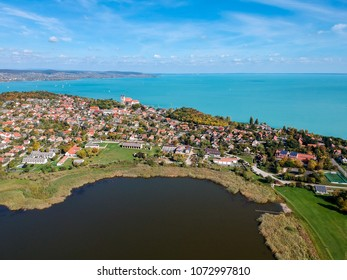 Aerial view of Tihany at lake Balaton