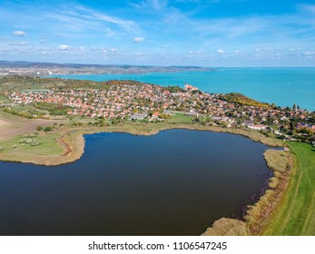 Aerial view of Tihany at lake Balaton in Hungary