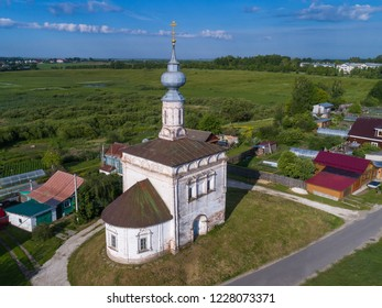 Aerial view of Tikhvin Church in Suzdal, Russia