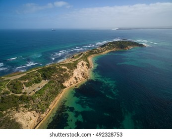 Aerial view of the tip of Mornington Peninsula on a bright sunny day. Melbourne, Victoria, Australia