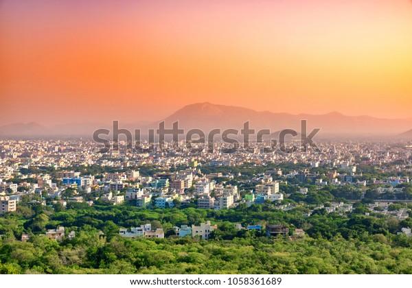 Aerial view of Tirupati city in South India, Andhra Pradesh. India.