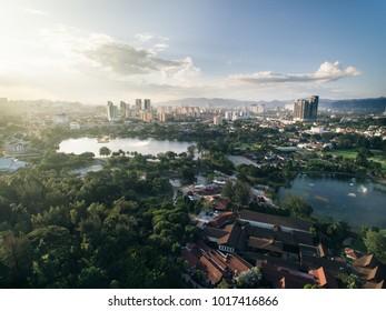 aerial view of Titiwangsa lake with evening sunlight located in Kuala Lumpur, malaysia