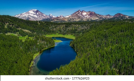Aerial view of Todd Lake near Bend, Oregon.