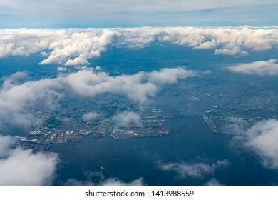 Aerial view of Tokyo Bay around the Yokohama Bay Bridge in Tokyo, Japan.