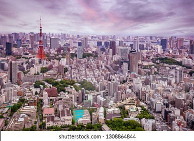 aerial view of Tokyo city at dusk