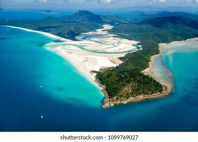 Aerial view of Tongue Point, Hill Inlet and Whitehaven Beach, the Whitsundays, Queensland, Australia.
