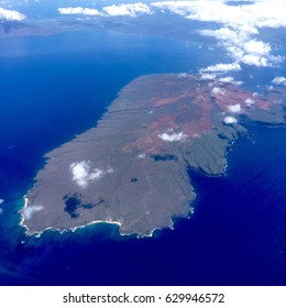 Aerial view or top view from airplane of Lanai island in Hawaii USA.