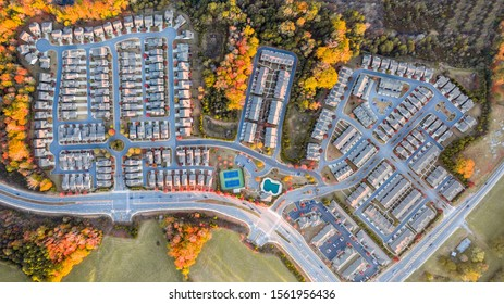Aerial view top to bottom suburban community in southern united states during the fall