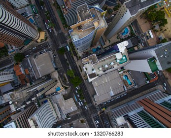 Aerial view and top view of buildings and city streets. Fortaleza city , Brazil.