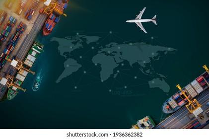Luftbild- und Spitzenfrachtflugzeug, das im Export- und Importgeschäft sowie im Logistikbereich über dem Schiffshafen fliegt. Fracht per Kranschiff in den Hafen befördern