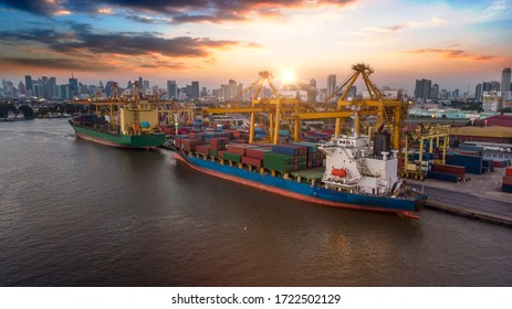 Aerial view and top view cargo ship port in the export and import business and logistics international goods. Shipping cargo to harbor by crane