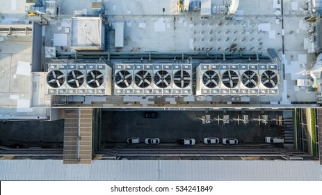 Aerial view, Top view condensing cooling water. Large air conditioners.Cooling water for air conditioning.