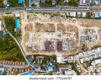 Aerial view (top view) of construction site with cranes, Thailand