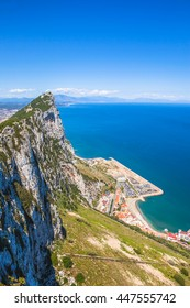 Aerial view of top of Gibraltar Rock. Gibraltar is a territory of South West Europe which is part of the United Kingdom.