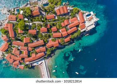 Aerial view from the top to the hotel sveti stefan. Montenegro.