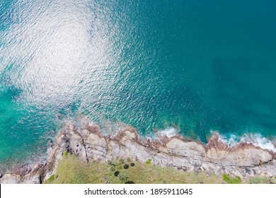 Aerial view top view. Seawater blue sea nature background. Seawater and coast