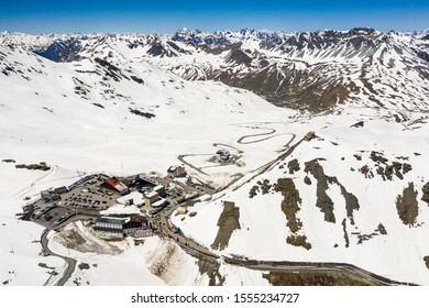 Aerial view of the top of the Stelvio alpine pass in near Bormio in Northern Italy