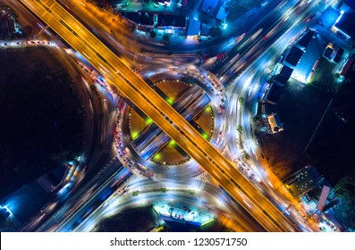 Aerial view and top view of traffic on city streets in bangkok , thailand. Expressway with car lots.