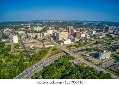 Aerial View of Topeka, Kansas Skyline in the Morning