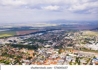 Aerial view of Topolcany, Slovakia, Slovak city Topolcany from plane