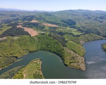 Aerial view of Topolnitsa Reservoir, Sredna Gora Mountain, Bulgaria - Shutterstock ID 1986570749