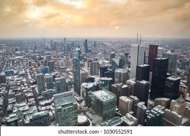 Aerial view of Toronto, Canada.