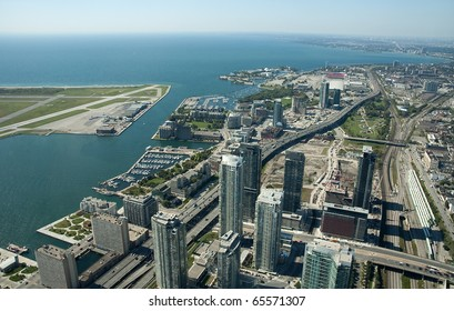 aerial view of Toronto center, airport on left side