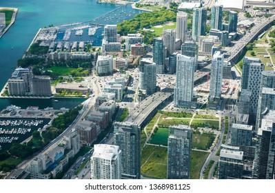 Aerial view of Toronto city, Canada