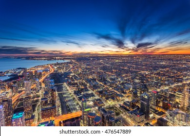 Aerial view of Toronto city at night