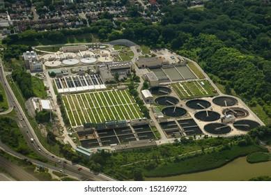 Aerial view of Toronto Sewage treatment plant