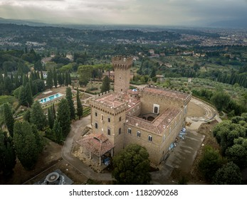 Aerial view of Torre del Gallo castle in Firenze (Florance)