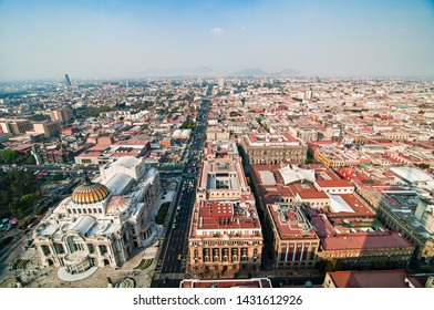 Aerial view of Torre Latinoamericana to Mexico City downtown